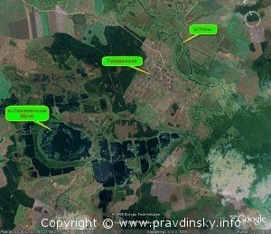 Вид из космоса на район поселка Правдинский
